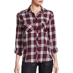 Soft Joie Lilya Cotton Plaid Shirt (218 CAD) ❤ liked on Polyvore featuring tops, apparel & accessories, deep garnet, long button up shirt, plaid button up shirts, plaid button down shirt, plaid shirts and purple shirt