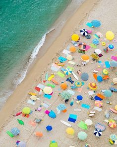 Aerial photography drone : Neon umbrella swirls in Barcelona// Gray Malin