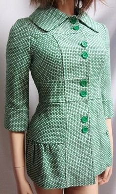 NWT TULLE BY ANTHROPOLOGIE 60s GREEN PATTERN PEACOAT JACKET