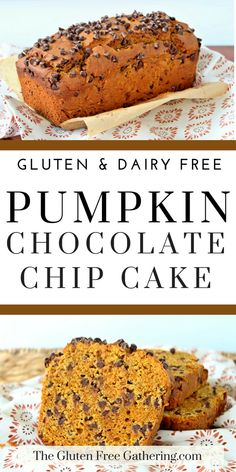 Free Pumpkin Chocolate Chip Loaf Cake (dairy free) – The Gluten Free Gathering - A fall classic. This pumpkin loaf is filled with spices and chocolate. Gluten Free Pumpkin Bread, Pumpkin Loaf, Pumpkin Chocolate Chip Bread, Chocolate Chip Cake, Gluten Free Cakes, Pumpkin Spice, Pumpkin Brownies, Vegan Pumpkin, Chocolate Cookies