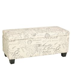 Cortesi Home Fitzgerald Script Upholstered Storage Bench