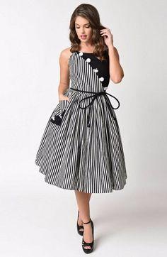 Unique Vintage Hamilton Dress in Black & White