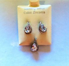NEW ITEM FOR THE HOLIDAYS! Sterling Silver Pear-Shaped Earring & Pendant Set - Cubic Zirconia - ON SALE! #zirconia #cubiczirconia #pear #jewelryset #earrings #pendant #necklace #buy #shop #onsale #deal