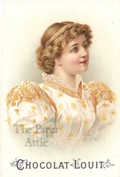 Victorian Woman with Puffy Sleeves Antique Vintage French Chromo Trade Card