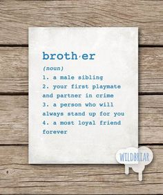Printable Wall Art Brother Dictionary Definition Boys Room Big Little Brothers Gift New Baby