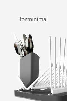 An architecturally inspired dish rack that is both sculptural and functional in equal measure. Box Water, Filtered Water Bottle, Dish Racks, Kitchenware, Lunch Box, Sculpture, Contemporary, Inspired, Inspiration