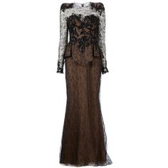 Zuhair Murad Embellished Lace Peplum Gown ($2,913) ❤ liked on Polyvore featuring dresses, gowns, long dresses, vestidos, zuhair murad, black, sequin maxi skirt, black sequin dress, black beaded gown and black evening gowns