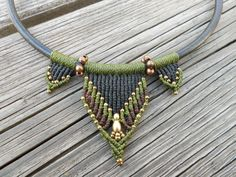 Leather Macrame Necklace with brass beads by BySinuhe on Etsy