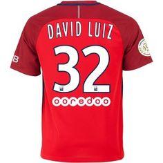 16-17 Paris Saint-Germain Cheap Away #32 DAVID LUIZ Red Replica Jersey [G286]
