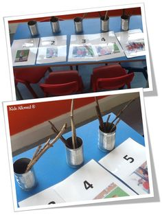Here, the children are improving their #counting skills by matching up the twigs to the number line. #eyfs