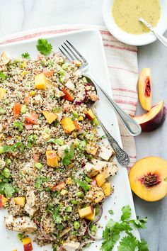 Grilled Chicken and Peach Quinoa Salad - Foodness Gracious