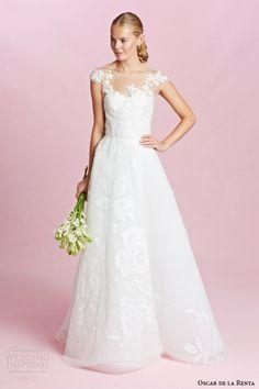 oscar de la renta bridal fall 2015 illusion cap sleeve wedding dress a line silhouette