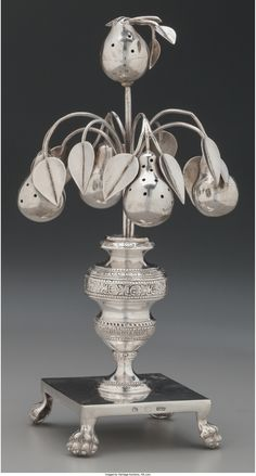 A Portuguese Silver Pear Tree-Form Toothpick Holder, circa 1820 Marks: (effaced mark), IXC 7-7/8 inches high (20.0 cm) 10.48 troy ounces.