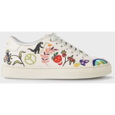 Paul Smith Women's Off-White Leather 'Basso' Trainers With Embroidered... (570 CAD) ❤ liked on Polyvore featuring shoes, sneakers, genuine leather shoes, leather footwear, off white shoes, champagne shoes and off white sneakers