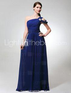 Sheath/ Column One Shoulder Floor-length Chiffon Bridesmaid Dress - USD $ 128.69 in royal blue, silver and black