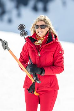 Queen Maxima takes the ski lift during the annual photo call on February 22 2016 in Lech Austria