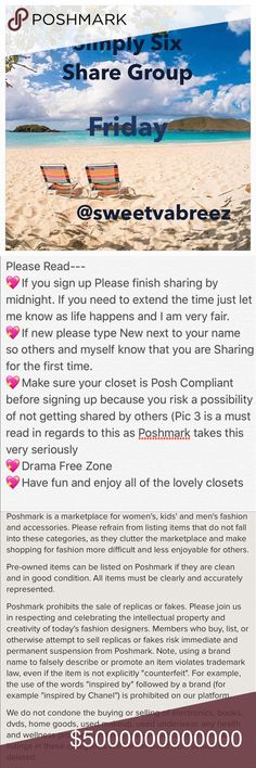 🌴OPEN FRIDAY SIGN UP🌴 🎉Welcome to my Simply Six Share Group 🎉Tag your name (ex @obxy4u)  🎉Share 6 Available listings from each closet.  🎉DON'T share SOLD ITEMS 🎉DON'T SHARE SALE SIGNS UNLESS IT'S AT A POSHER REQUEST 🎉To mark your spot  place *** before last poshers name (ex ***obx) 🎉If new to my Group, type (New) by your name.  🎉Sharing begins  at 6 AM your time 🎉Shares must be completed Midnight Your time 🎉Sign up closes at 4 PM 🎉You may Sign out after I close  🎉Use the Q&A…