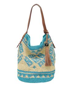 Turquoise Sierra Straw Shoulder Bag | zulily