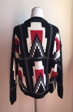 Vintage Aztec 80s Sweater | Hipster Sweater | Oversized Retro Sweater | Techie Sweater | Nerdy Sweater | Vintage Art Deco Style Sweater by VintageBobbieMaude on Etsy