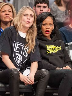 ORDER IN THE COURT! |  Model Cara Delevingne and Rihanna get their heads in the (basketball) game as the home team Brooklyn Nets best the Atlanta Hawks 91-86 on Monday.