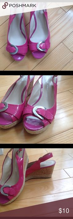 "Pink peep toe sandals 10.5 Lipstick pink patent leather spring peep toe sandals with brushed silver buckle in size 10-10.5 by Franco Sarto's ""Artist Collection"". Cork and straw wedge heel. Worn once, no scuffs at all. Franco Sarto Shoes Wedges"