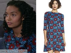 088a5b8680d Zoey Johnson (Yara Shahidi) wears this blue and red floral print flare  dress in this episode of Blackish. It is the SUNO Sleeve Flared Dress.