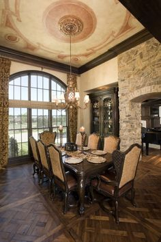 Even with the high ceiling, this dining room is sooo cozy!  Re-Create for yourself By Deco Haven Artistry, Murals & Decorative Painting. Please check out our page on Face Book, would love to see you there!!!