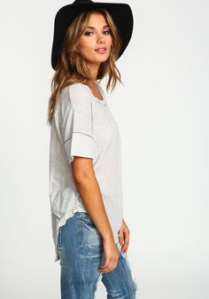 Grey Feather Knit Boxy Top - Love Culture