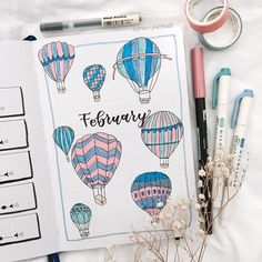 Bullet Journal Inspo Daily sur Instagram: 🛸Are you a balloonist?🎈 . . . Next month which is March, there will be a hot air balloon festival in Hamilton here in New Zealand…