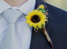 Grooms boutonniere sunflower buttonhole autumn mens