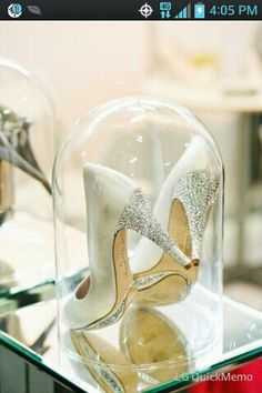 Remember the day. By displaying your wedding shoes in a bell jar! I'm so doing this!