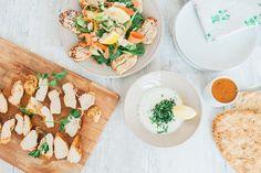 Super fast Jalfrezi chicken recipe +lemon mint yogurt dip+halloumi salad+jalfrezi curry sauce
