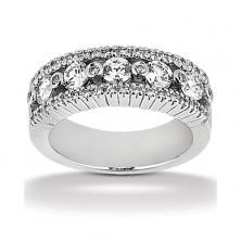 14k White Gold Womens Diamond Anniversary Or Wedding Band Containing 1.33 Carats Of Diamonds In Hi Color And Si1-si2 Clarity