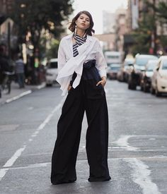 #flared #pants with flowy #top #stripes #Talisasutton #fashion #style