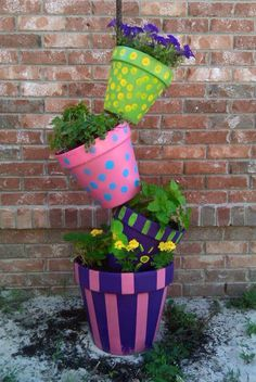 Patterned Tipsy Pot Tower _ Fun Way To Grow Herbs On The Deck!