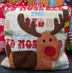 Christmas Cushion - Redolph the red nose Reindeer £10