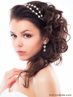 medium length wedding hairstyle with pearl headband