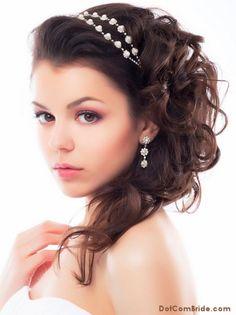 medium length wedding hairstyle with pearl headband
