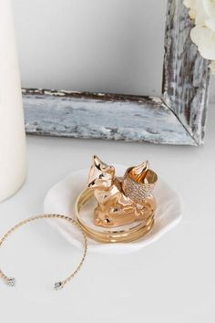 Ceramic Copper Fox Ring Dish