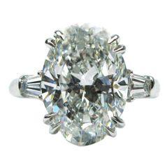 harry winston jewelry | HARRY WINSTON Five Carat Oval Diamond Ring