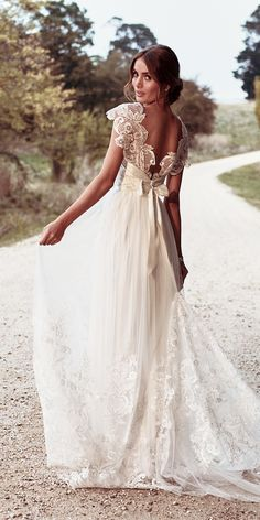 anna campbell 2018 straight draped shoulder detail of sequinned lace low back detailed lace belt wedding dresses savannah