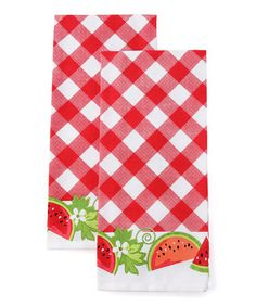 Take a look at this Gingham Watermelon Dish Towel - Set of Two by Design Imports on #zulily today!