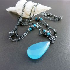 Blue Lagoon, Chalcedony Tourquoise Handmade Oxidized Necklace