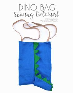 a very easy sewing tutorial sewing for kids for this cute dinosaur bag that can be used for every day kid fun. Sewing Basics, Sewing Hacks, Sewing Tutorials, Tutorial Sewing, Craft Tutorials, Sewing Tips, Sewing Projects For Kids, Sewing For Kids, Crafty Projects