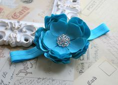 Turquoise Baby HeadbandTeal Baby Flower by whisperbugboutique, $12.50