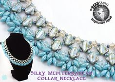 Silky Beads, SuperDuos, Crystals and Seeds. Silky Mediterranean Collar by Laura Graham - DesertStarCreations.com