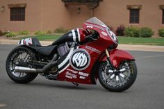 Cool Victory motorcycle in sport dress.