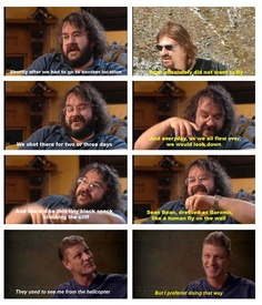 "Peter Jackson On Sean Bean`s fear of flying: ""After this particular journey, he (Sean Bean) said 'That`s it. I`ll walk, I`ll swim, I`ll crawl, I`ll do whatever it takes but I`m not taking more helicopter rides.'"""