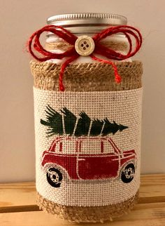 Christmas jar, with red truck Needle point Christmas Jars, Etsy Christmas, Christmas Items, Christmas Crafts, Christmas Decorations, Country Christmas, Jar Lights, Bottle Lights, Handmade Shop