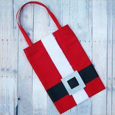 Santa Gift Bags  Set of 3 Christmas Gift Bags Reusable by KandyOh, $15.00